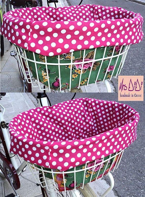 Polka Dot Reversible Bike Basket Liner  by MrsDiDiCraftShop, €27.00