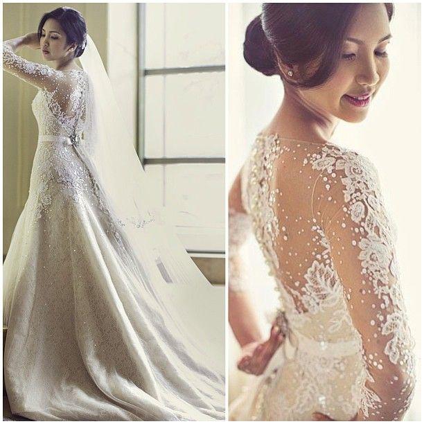 2015 Vintage Long Sleeve Wedding Dresses Romantic Bridal Gowns Vestidos Dress Sexy See Through Back Vestido De Noiva