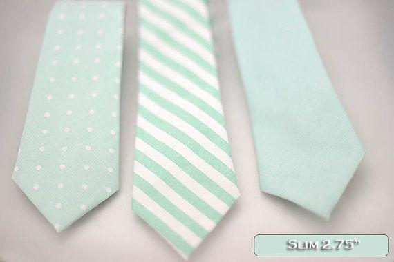 Set of solid-pattern mint green slim ties, neck-tie, white stripe, mint, polka dot theme wedding, mint accessory decoration, groomsmen,men