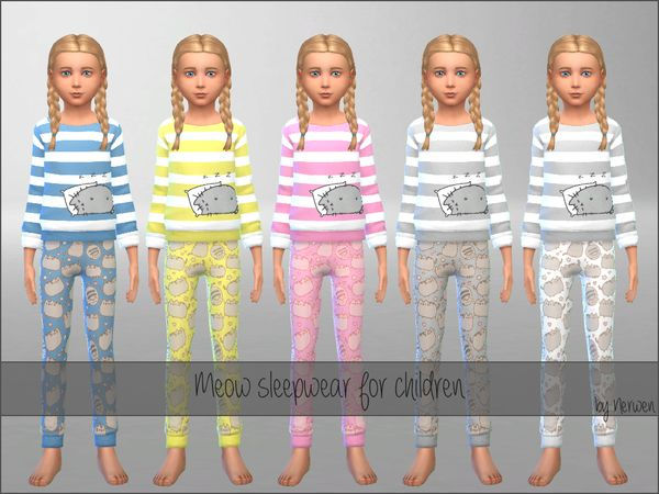 Meow Sleepwear Set by Nerwen666 at TSR via Sims 4 Updates