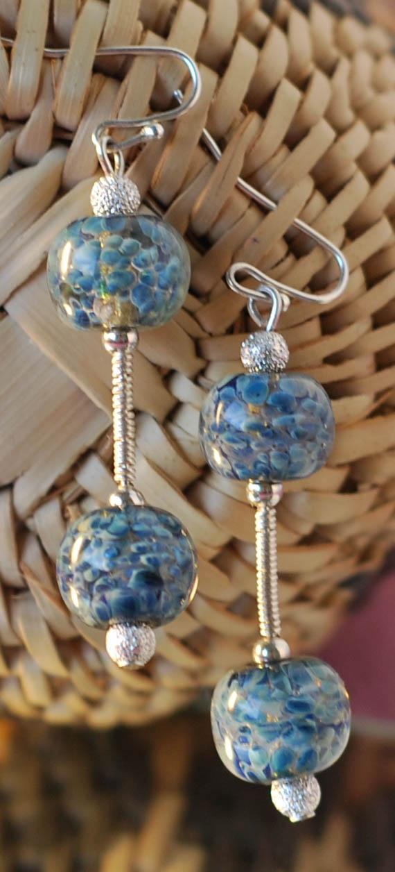 Murano glass lampwork beads sterling silver wire wrap earrings: Wire Wrap, Murano Glass