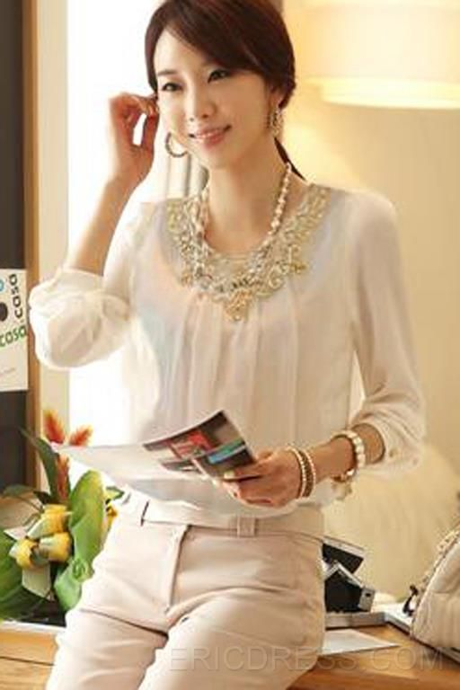 Elegant Lace Collar Long Sleeve  Blouse Blouses