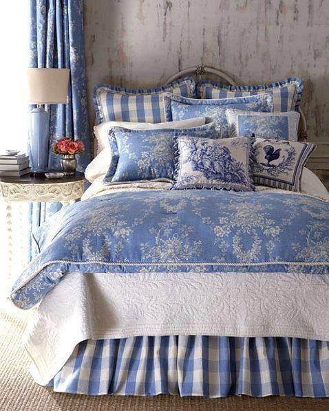 Blue, Toile, and plaid play in this gorgeous bedding! Pair white trow to balance the prints except in red!: