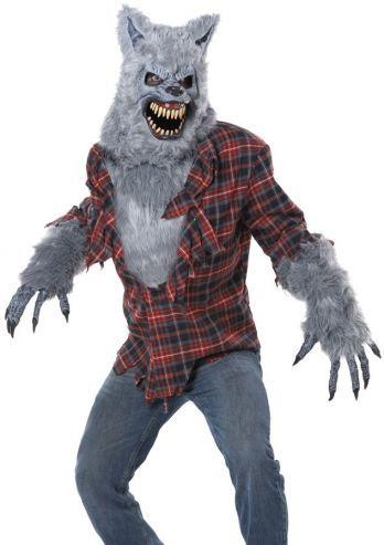 Een uniek heren sprookjes kostuum voor Roodkapje of de 3 biggetjes en de Grote Boze Wolf. Dit wolven kostuum bestaat uit drie onderdelen, het masker, shirt en de handschoenen. Het wolven masker is een voorgevormd stevig masker met bont en nep leer afwerking. Het wolven shirt is een opengescheurd klassiek ruitjes shirt met bont op de borst en op de mouw