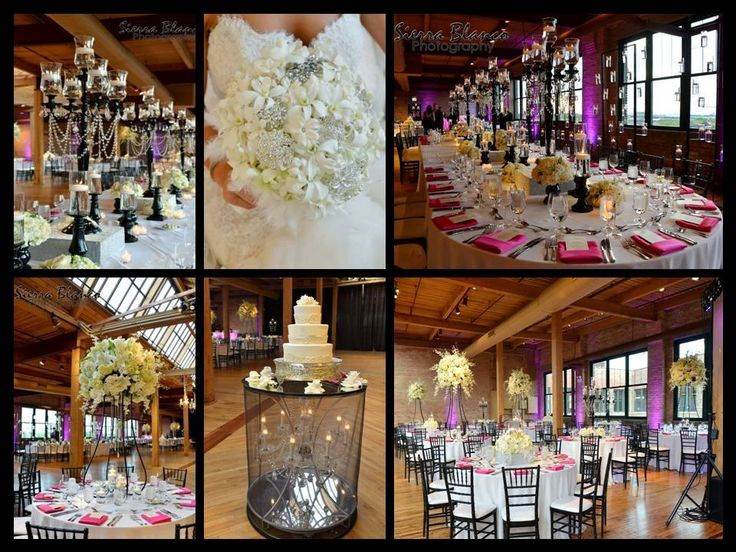 Yanni Design Studio created this magnificent wedding at Bridgeport Art Center for Mary Jo & George. This stunning event featured a mix of ivory floral centerpieces and black European Crystal candelabras. We love our custom-built oval family tables, which can seat up to 25 people! Also, check out our unique chandelier cake table!