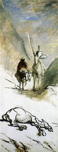 Don Quixote, Sancho Pansa and the Dead Mule - Honore Daumier