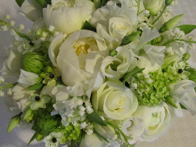 Spring bridal bouquet with white peonies and chincherinchee by The Flowersmiths, via Flickr