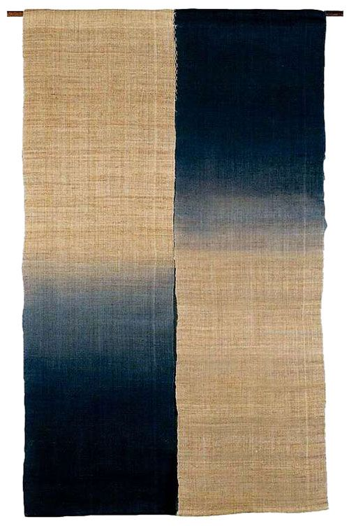 Another great Japanese noren, this one and ancient Linen with Indigo blue gradation.