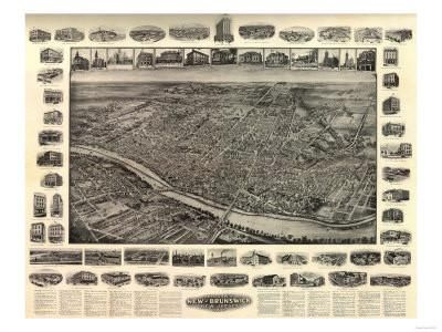New Brunswick, New Jersey - Panoramic Map Art Print by Lantern Press at Art.com
