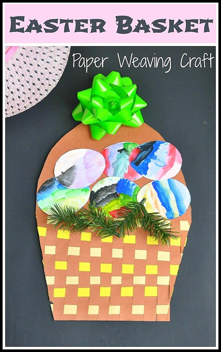 #easter. Paper weaving craft for Easter. Make a basket while strengthening fine motor skills and understanding patterns. from www.blogmemom.com