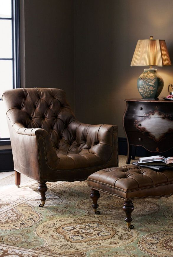 Old Hickory Tannery Tufted Leather Chair Ottoman Furnituredesigns