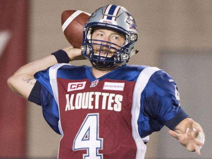 Montreal Alouettes' quarterback Tanner Marsh throws a pass during first half CFL football action against the B.C. Lions in Montreal on Thursday, September 3, 2015.