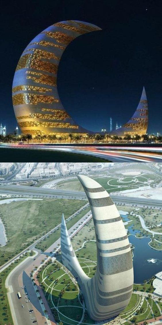 Of course  Dubai  couldn't be left off the list. The Crescent Moon Tower is a design concept for a structure in Za'abeel Park which is to represent the modern face of Dubai. It will have a library, conference facilities, restaurants and an open air observation deck. Just watch out for the sandstorms!