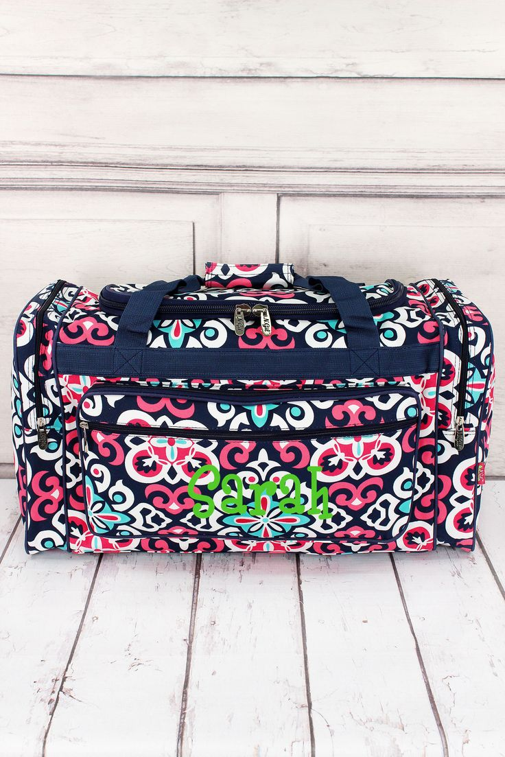 "Moroccan Flower Duffle Bag with Navy Trim 23"" #HM423-NAVY"