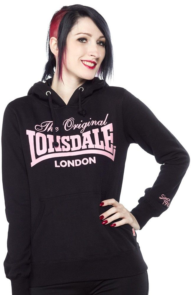 """LONSDALE KINGSTON UPON HULL HOODIE Lonsdale Kingston upon Hull hoodie will keep you cozy and warm. Comes with iconic Lonsdale logo in puff print. It features a warm lined hood, kangaroo pockets, and a small """"Since 1960"""" logo embroidered on the left sleeve. It is finished off with a pink velvet tape in the hood lining and in the collar to give it that extra special look. $55.00 #lonsdale #hoodie #gals"""