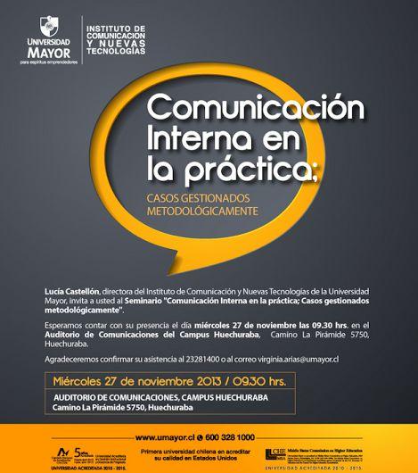 ¿Lo tuyo es la COMUNICACIÓN INTERNA? Inscríbete y asiste al seminario de mañana en Campus Huechuraba! Reserva tu cupo:  virginia.arias@umayor.cl #Periodismo   #comunicacióninterna   #umayor   #santiagodechile