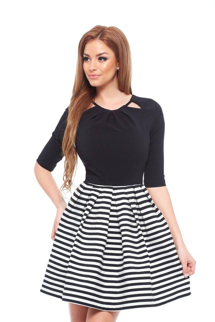 Artista Classy Chic Black Dress, 3/4 sleeves, horizontal stripes, back zipper fastening, slightly elastic fabric