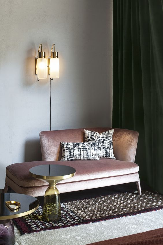 From palm print wallpaper paired with pink velvet seating to green accessories set against blush coloured walls, interiors enthusiasts love a pink and green combination for a retro look with a feminine touch.