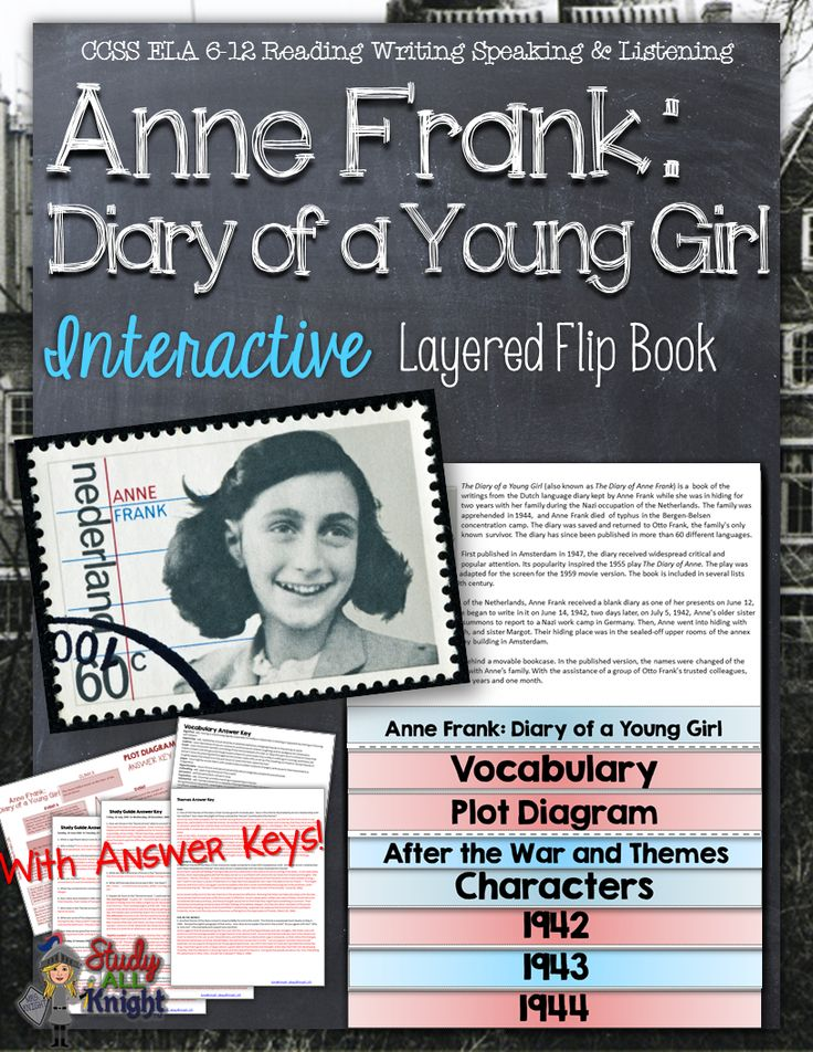 Anne frank, diary of a young girl novel study literature ...
