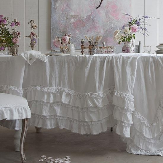 Pretty ruffled white table cloth for dining table or vanity perfect for a tea party.  Shabby cottage romantic