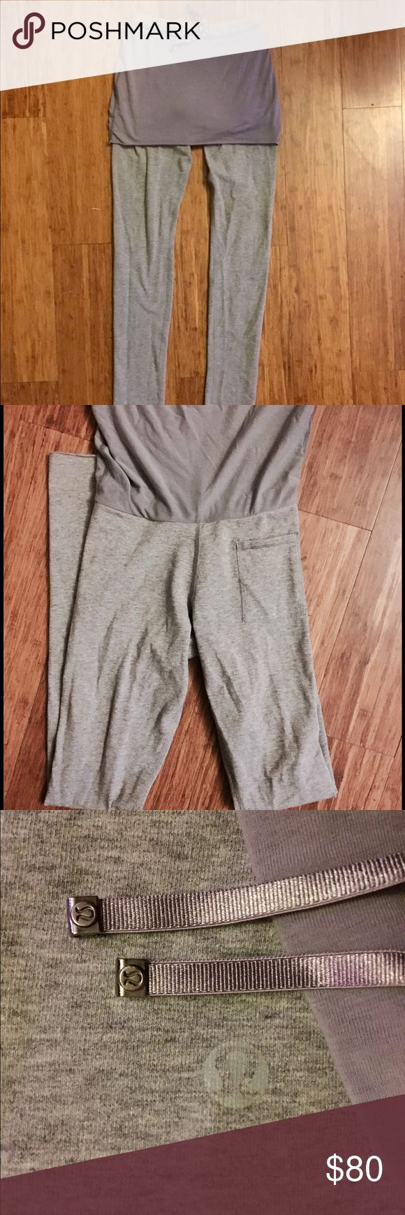 """Lululemon 4 pants Extra long pants with attached skirt. One small pocket. Lightly worn and in great condition. No piling or stains. Always hand wash and air dry. The inseam is 32"""". I usually fold them up but I know Lululemon stores will hem the pants shorter. Pants are light gray and the skirt is a grayish blue color. lululemon athletica Pants Leggings"""