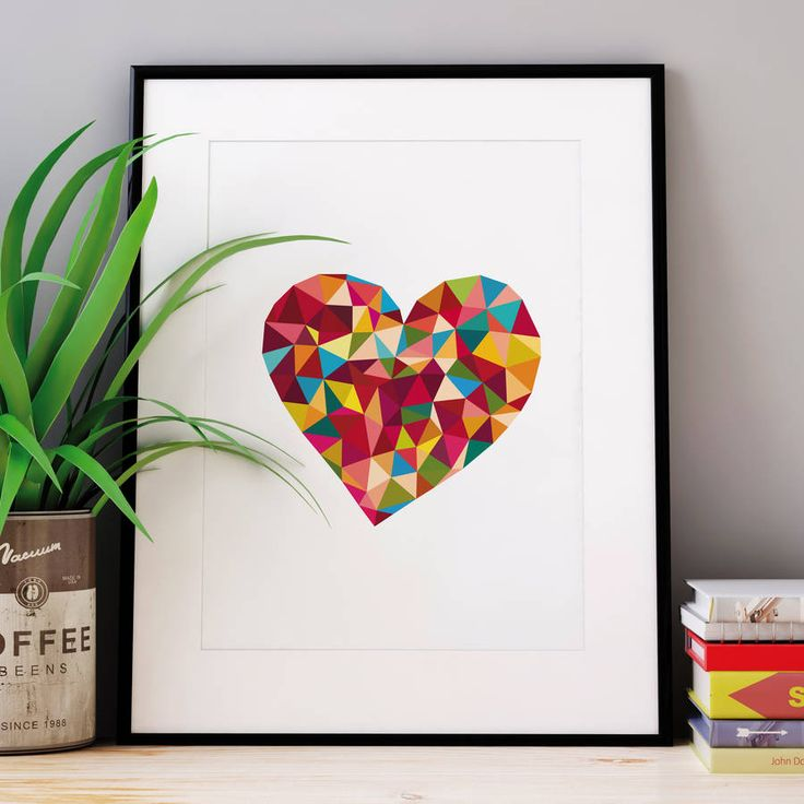 Rainbow Polygon Love Heart http://www.notonthehighstreet.com/themotivatedtype/product/polygon-art-love-sweet-heart-print Limited edition, order now!
