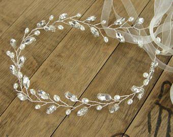 Bridal Hairband, Wedding Headband, Wedding Headpiece, Rhinestone Headband, Hair Accessories, Bridal Hairband, Headband, Clear, Silver Tone