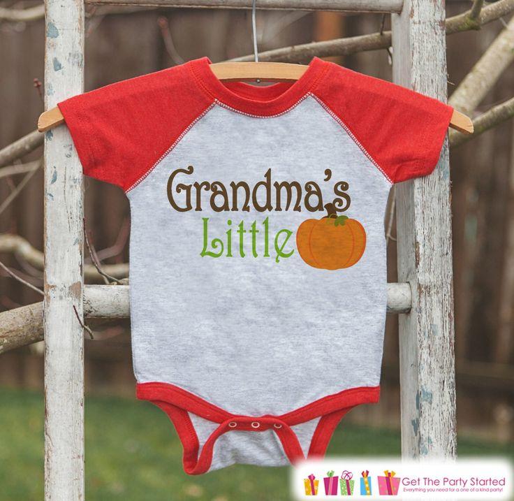 Grandma's Little Pumpkin - Kids Pumpkin Outfit - Girls or Boys Pumpkin Shirt - Red Raglan Tshirt or Onepiece - Baby or Toddler Halloween