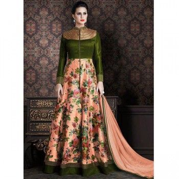 Poly Silk Beige & Green Floral Print Semi Stitched Long Anarkali Suit - C274