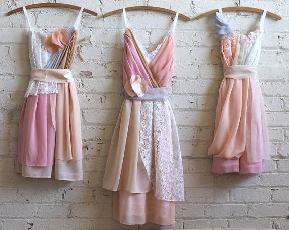 peach, salmon, pink, and tan bridesmaids dresses by AsA