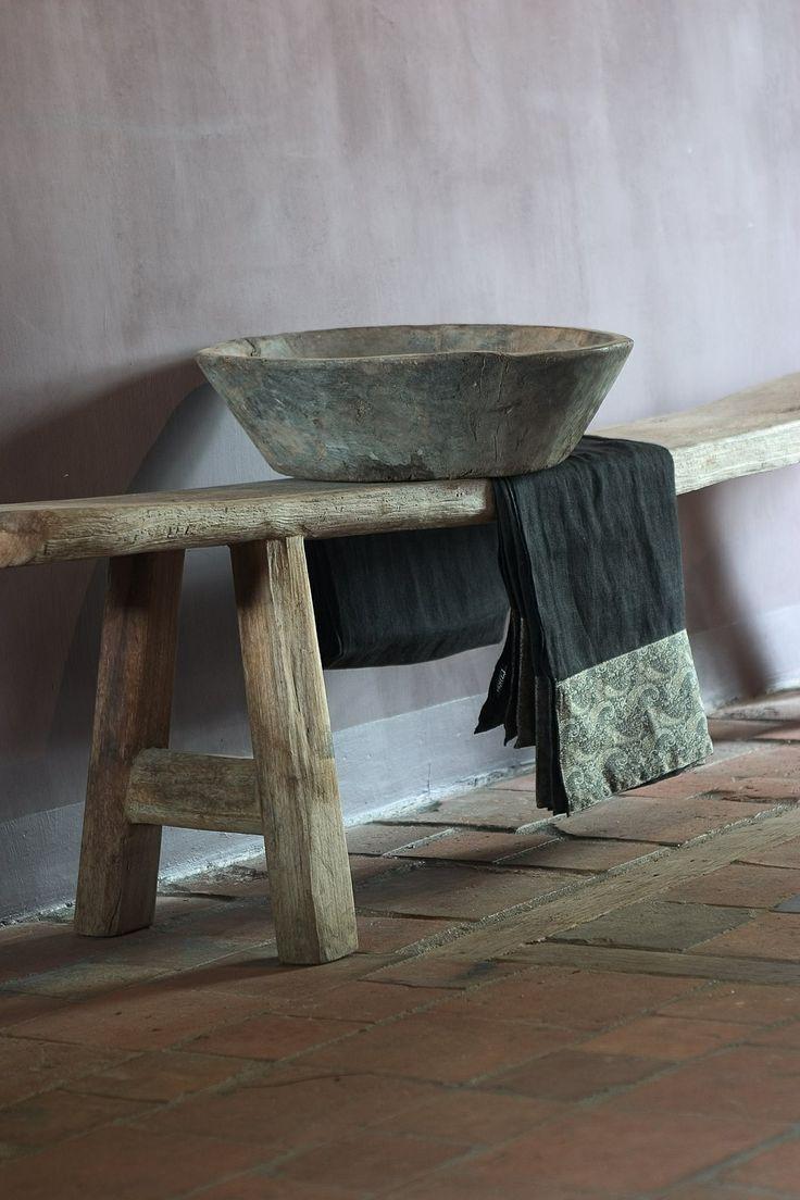 Wabi Sabi inspiration bycocoon.com | simple bench and stone washbasin | interior…
