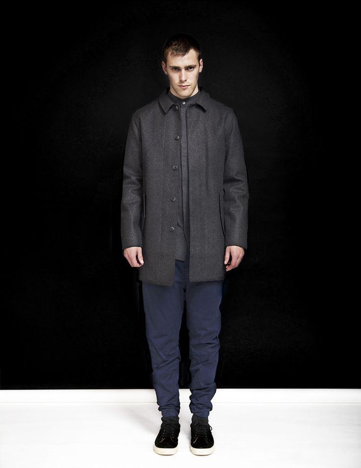 RVLT - men's fashion. Poly/wool jacket in mac style.