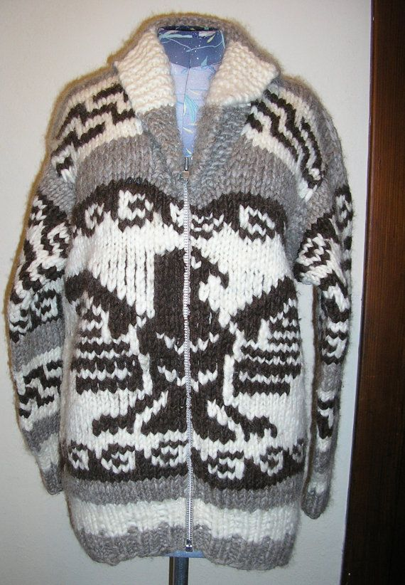 Vtg Cowichan sweater eagle Canada medium by ChloeandNatalieVtg, $225.00