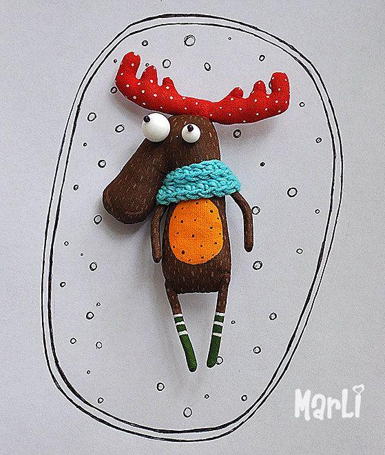 curious moose por MarLitoys en Etsy