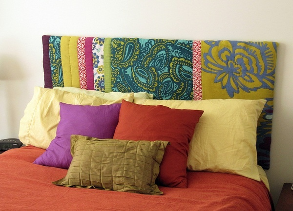 DIY head board - Love the fabrics and colors