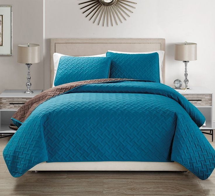 Amazon.com: Mk Collection Solid Reversible Embossed Coffee/Blue Turquoise bedspread Coverlet New #35 (Full/Queen): Home & Kitchen