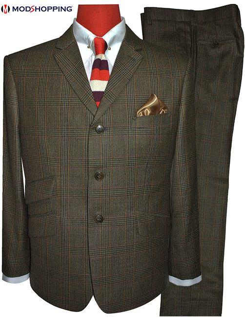 tweed POW brown suit