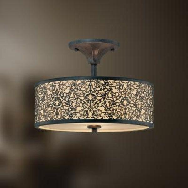 wohnzimmer beleuchtungsideen kronleuchter metall gitter
