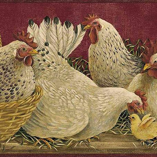 Burgundy Baskets & Roosters Wallpaper Border | Country ...