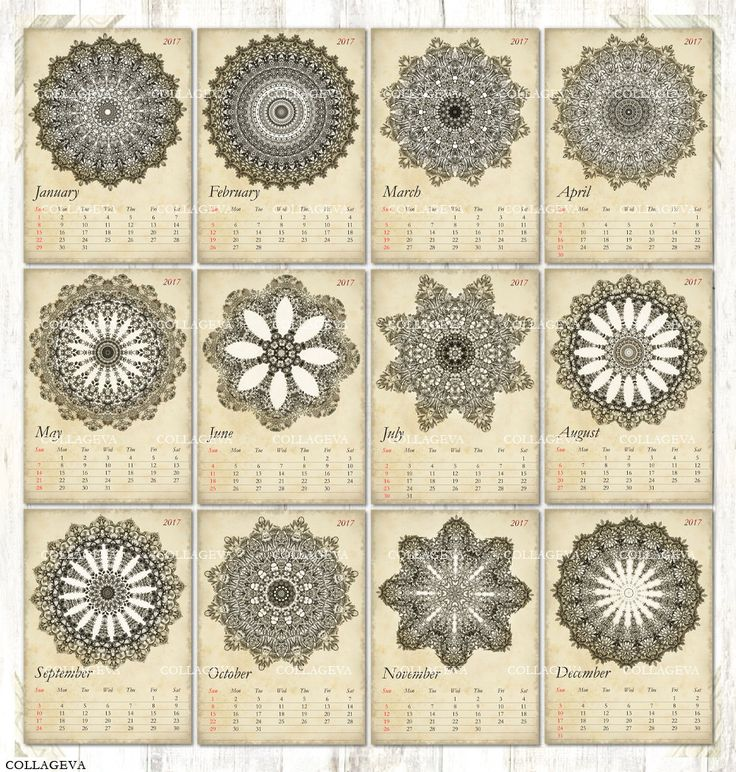 Vintage Mandalas Digital Cards ACEO ATC Tag Label 2017 Monthly Calendar Pdf & Jpeg, Printable Kaleidoscopes Rosettes Grunge Shabby (C015-17) by collageva on Etsy