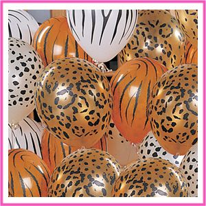 red and cheetah print party decor | ... tank and filled a ton of bright pink black and leopard print balloons