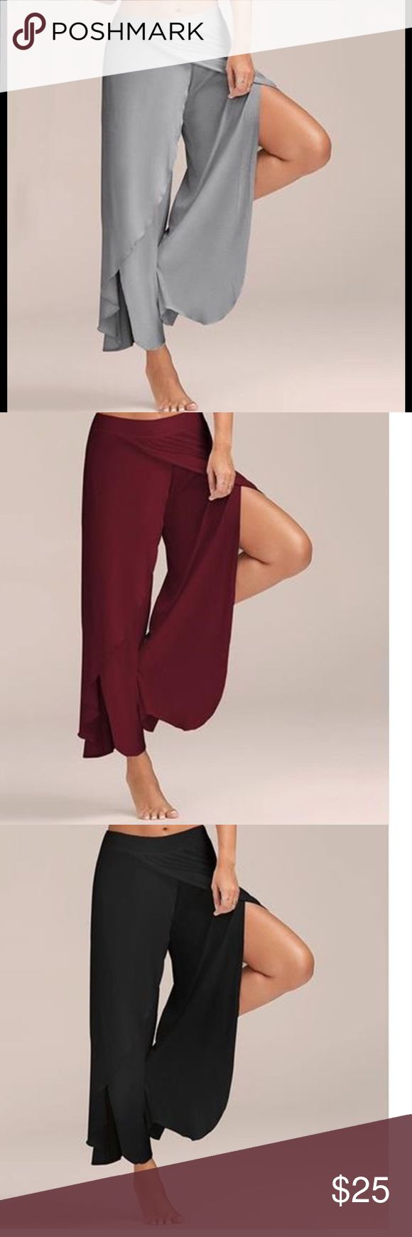 """Loose Wide Leg Fashionable Lightweight Pants Burgundy Lightweight fashionable loose fit and feel great with all the movement. Can be worn high waisted or low around hips. Chiffon made out of Polyester/Cotton/Spandex material great for casual wear or dress up with heals. Measurements approximately Waist flat 14 1/2"""", will fit 28"""" to 34"""" Inset 13"""" Inseam 31"""", Length 44"""". Slit starts at Hemline but there is fabric overlap so no exposure. Great to wear as a skirt for those that don't skirts…"""