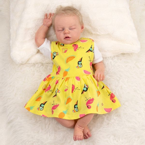 Baby Madchen Sommer Kleid Tropical Allover Print Gelb In 2021 Kleider Baby Set Madchen Sommerkleid