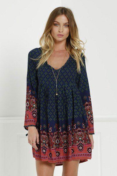 3/4 Sleeve Floral Tunic Dress BLUE: Print Dresses | ZAFUL