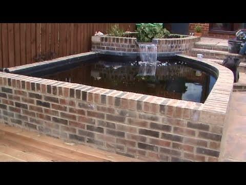 Description of building a concrete block and brick pond.