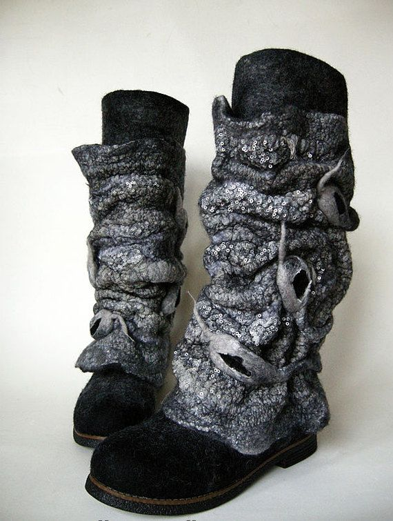 Felted Boots Anthracite Mountain by DianaNagorna on Etsy, $475.00