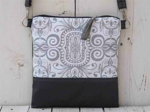Handmade Canvas Crossbody Bag - White and Grey Design