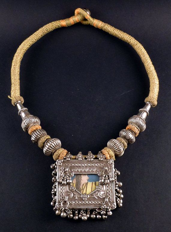 Rajasthan silver old amulet necklace - indian jewelry