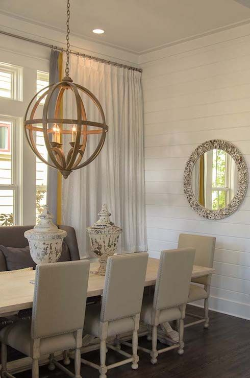 Romair Homes - dining rooms - Axel Orb Chandelier, cottage dining room, beachy dining room, beach cottage dining room, banded curtains, band...