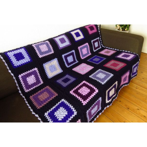 Crochet Blanket Throw Blanket Throw For Sofa Throw For Couch Purple... ($160) ❤ liked on Polyvore featuring home, bed & bath, bedding, blankets, purple bed linen, crochet blanket, crochet throw, purple blanket and purple bedding